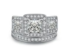 She said YES! Aurora 3-in-1 ring set features in 18k White Gold Color and with 5 mm CZ Princess Diamond Cut a refined glamorous and romantic appeal.https://lamiacara.com/collections/new-arrivals-la-mia-cara-jewels/products/aurora-white-gold-princess-diamond-cut-engagement-wedding-ring-set?utm_content=buffere2629&utm_medium=social&utm_source=pinterest.com&utm_campaign=buffer
