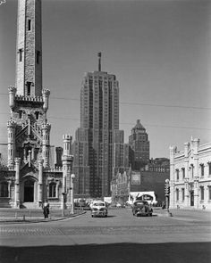 1949 View of the Water Tower and Palmolive Building at the intersection of Chicago and Michigan Ave.