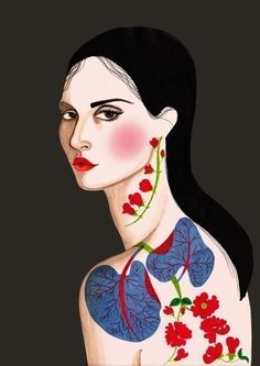 Exotic Flower Tattoo print by Peggy Wolf Design $20.00