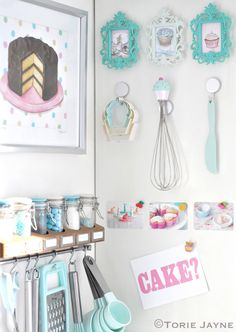This kitchen organization is absolutely PRECIOUS! Loving the colors, too!