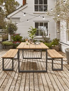 The top of our Indoor Outdoor Albany Dining Set is crafted from treated acacia wood, a sturdy and beautifully toned wood. Perfectly contrasting for statement effect is an industrial look grey steel toned frame. Our set of a table and two benches is a ver Outdoor Tables And Chairs, Garden Table And Chairs, Outdoor Dining Set, Patio Dining, Outdoor Areas, Outdoor Living, Indoor Outdoor, Outdoor Decor, Dining Sets