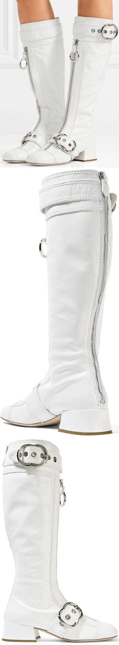 Never a brand to shy away from retro glamour, Miu Miu's knee boots are inspired by go-go styles from the '60s and '70s. Made in Italy from patent textured-leather, this white pair has a low block heel and fitted square-toe. The buckle embellishments and round zipper pulls add to its mod feel.