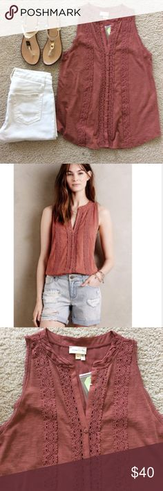 """{Anthropologie} Mirela Embroidered Tank {Anthropologie} Mirela Embroidered Tank by Meadow Rue. Color is like a coral mauve. Gorgeous lace detail. Button front. Sheer at the top of the back. Sleeveless. Laying flat approx 26"""" shoulder to hem, approx 17"""" pit to pit. 100% cotton. Size S. NWT, never worn. Anthropologie Tops"""