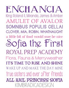 Sofia the First Movie Quote Subway Art 11x14, $20.00