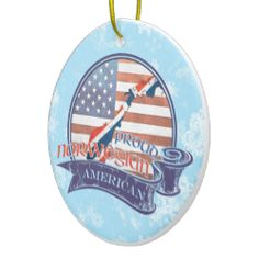 Proud American Norwegian Christmas Ornament. For more holiday ornaments, please check out my store: www.zazzle.com/celticana*/ #ChristmasOrnaments #ChristmasDecorations #Zazzle