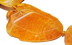 gemspleases : 52-61mm Freesize Fire Yellow Agate Faceted Flat Slab gemstone loose beads