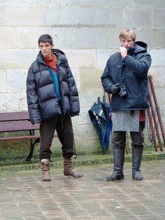 "On Set ""Merlin"" - Bradley James and Colin Morgan"
