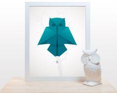 Origami Owl Print - Poster minimal modern decor wall art paper folding japanese owl bird minimalist childrens nursery blue teal gray white by noodlehug on Etsy https://www.etsy.com/listing/98278187/origami-owl-print-poster-minimal-modern