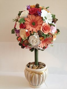 Clay flower topiary with roses daisies     by Inflorescencia, $250.00