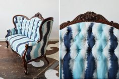 Wow! Our client brought in their antique Victorian sofa for reupholstery and selected an exuberant curving chevron textile, pattern #32396-19 in Aqua by John Robshaw for Duralee.