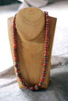 Amazing Old Mediterranean Single Strand Navajo Coral Necklace 1940's