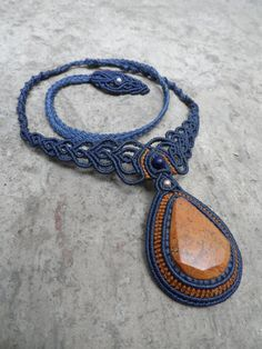 Items similar to Jasper and Lapis Yellow with 925 Sterling silver macrame necklace (blue) Stone size approx. / cm on Etsy Macrame Earrings, Macrame Jewelry, Macrame Bracelets, Beaded Necklace, Necklaces, Hemp Jewelry, Tatting Jewelry, Boho Jewelry, Jewelry Design