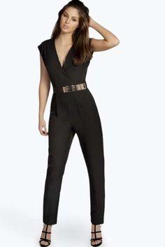 Shanae Roll Sleeve Metal Belted Jumpsuit at boohoo.com