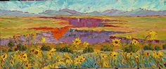 """Sunflowers & Dancing Skies, 20x48 by Michelle Chrisman Oil ~ 20"""" x 48"""""""