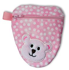 "Teddy Bear Binky Bags In the Hoop - Our adorable Teddy Bear Binky Bag helps keep those binkies handy when you need them! The bag holds 2-3 binkies, plus other small objects. Use them for pacifiers, hand sanitizer, diaper doody bags, and more! Hang the bag from the ribbon loop with a baby ring.  Design size: 4.98"" x 5.57"" Stitch count:4,311 Hoop size: 5 x 7  Design is delivered instantly in the following formats: ART, HUS, JEF, PES, VIP, EXP, DST."