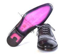 Paul Parkman Men's Captoe Oxfords Gray & Black Hand Painted Shoes