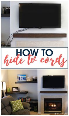 Tips & tricks - Home decorating ideas - Super easy how to hide those ugly tv cords. Full tutorial with supply list included! Hide Tv Wires, Tv Cords, Organizing Your Home, Home Organization, Decorating Your Home, Diy Home Decor, Decorating Ideas, Hidden Tv, Hidden Storage
