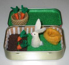 Rabbit garden play set in Altoid tin - with felt rabbit, carrots, basket and snuggle bag. $28.00, via Etsy.