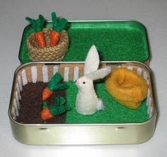 Rabbit garden play set in Altoid tin - with felt rabbit, carrots, basket and snuggle bag. $28.00, via Etsy.  But, would be an easy DIY!