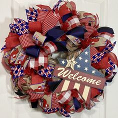 Patriotic Decorations, Wreath Ideas, Mesh Wreaths, Red White Blue, Holidays And Events, 4th Of July Wreath, Decorative Items, Summer, Design