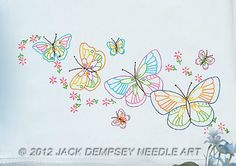 Fluttering Butterflies Lace Edge Pillowcases Embroidery Kit