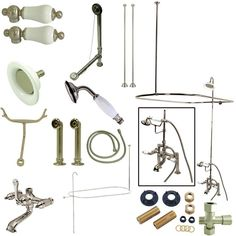 Kingston Brass Vintage Double Handle Deck Mount Center Clawfoot Tub Fixture with Shower Riser Package Finish: Polished Chrome Clawfoot Tub Faucet, Roman Tub Faucets, Tub And Shower Faucets, Shower Tub, Shower Drain, Bathtub, Shower Enclosure, Wall Mount Tub Faucet, Freestanding Tub Filler