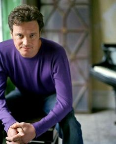 Gorgeous Colin Firth in a purple shirt.....this just made my day!