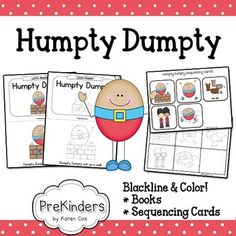 Humpty Dumpty illustrated nursery rhyme books and sequencing cards. Includes both color & blackline!