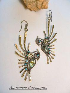 Earrings birds of Paradise intricate brass от Vikinkreatif на Etsy