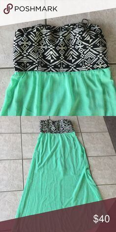 Beautiful strapless maxi dress. Offers accepted. Tribal design on top and mint green on bottom. Never worn. New without tags. Fits size 6-8 Double Zero Dresses Maxi