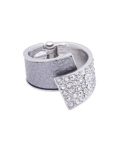 Leather + Pave Overlap Hinge Ring - ZR0038-SILVER