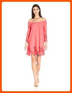 Blu Pepper Women's Off-Shoulder Crochet-Lace Trim Shift Dress, Coral, Large - All about women (*Amazon Partner-Link)