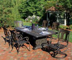 Hanamint - St. Moritz Collection. Rust proof cast aluminum dining set. Elsie has this set .... $$$$
