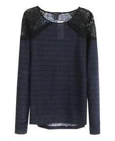 Shoulder Lace Splicing Stripe T-shirt Love it! <3