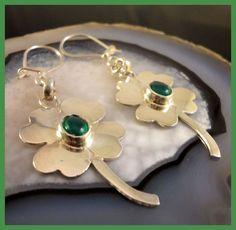Irish 4 Leaf Clover, Green Onyx, Shamrock Dangle Earrings, Handmade Sterling  #Handmade #DropDangle
