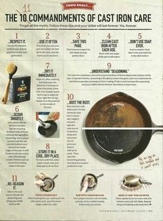 The 11 Commandments of cast iron care. This is really helpful, especially to refresh a rusty pan. Cast Iron Care, Cast Iron Skillet, Cooking Tips, Cleaning Hacks, Life Hacks, Rust, Skillets, It Cast, Shopping