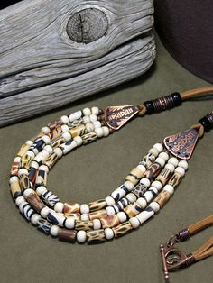 Leather and Animal Print Beaded Necklace  by StoneWearDesigns