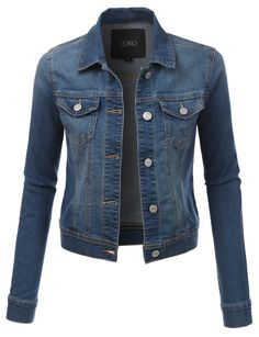 LE3NO Womens Classic Long Sleeve Denim Jean Jacket with Pockets | LE3NO