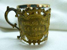 1904 Worlds Fair Shot Glass and Brass Holder or Small Sovenier Cup Cascades