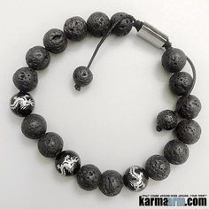 Gemstone: Lava Stone | Yoga Mala Beaded Bracelets for Men & Women