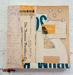 Original mixed media collage, collage art, vintage paper collage, neutral collage, square 6 x 6 collage
