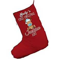 Personalised Santa And Snowman Delivery Red Christmas Stocking Gift Bag Babies First Christmas, Christmas Snowman, Red Christmas, Llama Christmas, Vintage Christmas, Unique Christmas Stockings, Santa And Reindeer, Santa Hat, Cartoon Reindeer