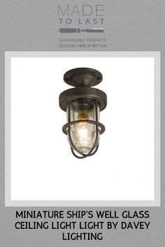 Miniature guarded ceiling light manufactured from brass. A mains voltage feature fitting with a well glass fitted to cover a appliance lamp. Available in polished brass, weathered brass and chrome plated finishes. Modern Flush Ceiling Lights, Glass Ceiling Lights, Wall Lights, Davey Lighting, Glass Fit, Chrome Plating, Polished Brass, Appliance, Industrial Style