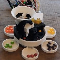 Sort your Skittles with this 3D-printed, Arduino-powered machine. #Atmel #Arduino #3DPrinting #Skittles #Makers