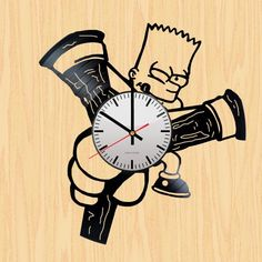 Bart Simpsons Handmade Vinyl Record Wall Clock Fan Gift - VINYL CLOCKS