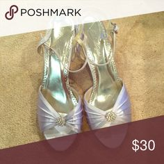 Lavender heels Pair of lavender heels that have been worn once- nice quality David's Bridal Shoes Heels