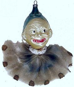 Antique Clown Glass Ornament.