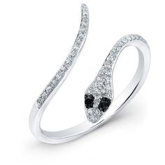 Anne Sisteron  14KT White Gold Diamond Slytherin Ring with Black... ($550) ❤ liked on Polyvore featuring jewelry, rings, white, diamond jewellery, black diamond snake ring, white gold jewelry, white jewelry and white gold diamond rings