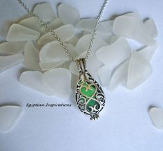 Sea glass locket necklace. Green  teardrop by EgyptianInspirations, $23.99