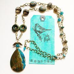 "Antiqued Brass Teal Earthy Ocean Jasper 34"" Long Necklace with Smoky Topaz, Labradorite, Sea Sediment & More TAKE FLIGHT by TakeFlightStudioWA on Etsy"